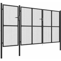 Garden Gate Steel 400x150 cm Anthracite QAH05962 - Hommoo