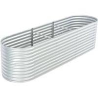 Garden Planter 320x80x81 cm Galvanised Steel Silver VD29642