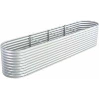 Hommoo Garden Planter 400x80x81 cm Galvanised Steel Silver VD29641
