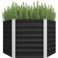 Garden Planter Anthracite 129x129x77 cm Galvanised Steel VD29855 - Hommoo