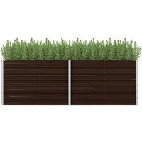 Garden Planter Brown 240x80x77 cm Galvanised Steel VD29834 -