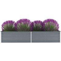 Garden Planter Galvanised Steel 240x80x45cm Grey VD29022 - Hommoo