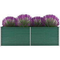 Garden Planter Galvanised Steel 240x80x77cm Green VD29021 -