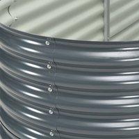 Hommoo Garden Raised Bed 400x80x81 cm Galvanised Steel Grey QAH29651