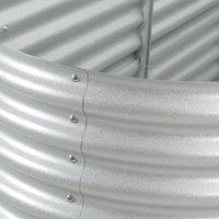 Garden Raised Bed 400x80x81 cm Galvanised Steel Silver QAH29641 - Hommoo