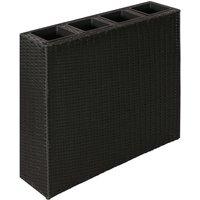 Hommoo Garden Raised Bed with 4 Pots 2 pcs Poly Rattan Black(2x41084) QAH21319
