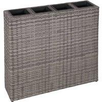 Garden Raised Bed with 4 Pots 2 pcs Poly Rattan Grey(2x45426) QAH21317 - Hommoo