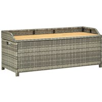 Hommoo Garden Storage Bench 120 cm Poly Rattan Grey