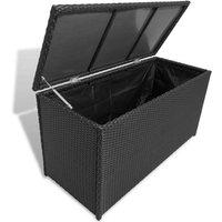 Garden Storage Box Black 120x50x60 cm Poly Rattan VD27045 - Hommoo