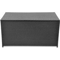 Garden Storage Box Black 120x50x60 cm Poly Rattan QAH27045 - Hommoo