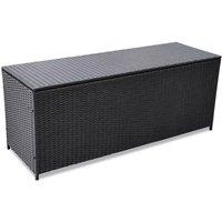 Garden Storage Box Black 150x50x60 cm Poly Rattan - Hommoo