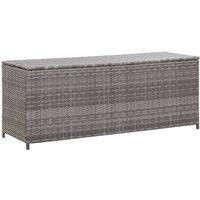 Garden Storage Box Grey 120x50x60 cm Poly Rattan VD45530 - Hommoo