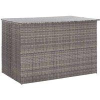 Garden Storage Box Grey 150x100x100 cm Poly Rattan VD45535 - Hommoo