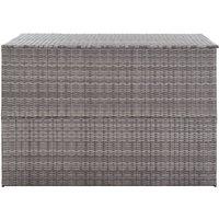 Garden Storage Box Grey 150x100x100 cm Poly Rattan QAH45535 - Hommoo