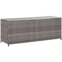 Garden Storage Box Grey 150x50x60 cm Poly Rattan VD45531 - Hommoo