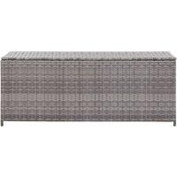 Garden Storage Box Grey 150x50x60 cm Poly Rattan QAH45531 - Hommoo