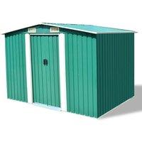 Garden Storage Shed Green Metal 257x205x178 cm VD27375 - Hommoo