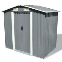 Hommoo Garden Storage Shed Grey Metal 204x132x186 cm