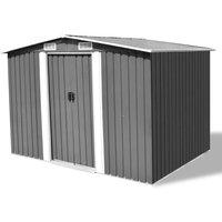 Hommoo Garden Storage Shed Grey Metal 257x205x178 cm VD27372