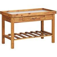 Garden Work Bench with Zinc Top Solid Acacia Wood QAH33145 - Hommoo