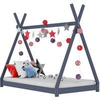 Kids Bed Frame Grey Solid Pine Wood 80x160 cm VD24216 - Hommoo