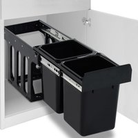Kitchen Cupboard Pull-out Recycled Dustbin Soft-Close 20 L VD47101 - Hommoo