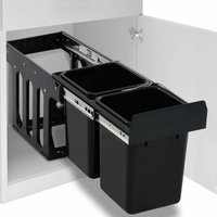 Kitchen Cupboard Pull-out Recycled Dustbin Soft-Close 20 L QAH47101 - Hommoo