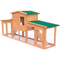 Large Rabbit Hutch Small Animal House Pet Cage with Roofs Wood VD06901 - Hommoo
