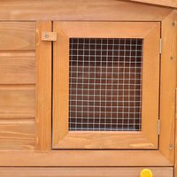 Large Rabbit Hutch Small Animal House Pet Cage with Roofs Wood QAH06901 - Hommoo
