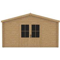 Log Cabin 28 mm 400x400 cm Wood QAH48310 - Hommoo