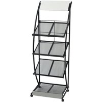 Hommoo Magazine Rack 47x40x134 cm Black and White A4 VD26100