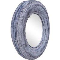 Mirror White 50 cm Reclaimed Rubber Tyre QAH47764 - Hommoo