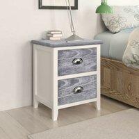 Nightstand Grey and White 38x28x45 cm Paulownia Wood VD24588 - Hommoo