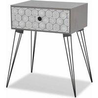 Nightstand with 1 Drawer Rectangular Grey QAH09153 - Hommoo