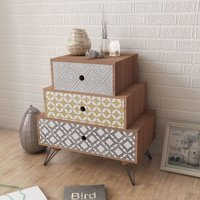 Nightstand with 3 Drawers Brown VD09159 - Hommoo
