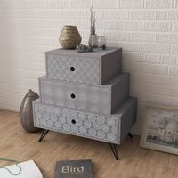 Nightstand with 3 Drawers Grey VD09154 - Hommoo