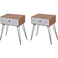 Nightstands with Drawer 2 pcs Brown VD18931 - Hommoo