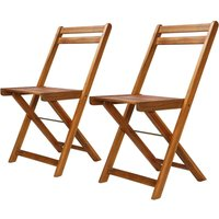 Outdoor Bistro Chairs 2 pcs Solid Acacia Wood VD28233 - Hommoo