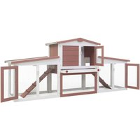 Outdoor Large Rabbit Hutch Brown and White 204x45x85 cm Wood QAH35625 - Hommoo