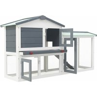 Outdoor Large Rabbit Hutch Grey and White 145x45x85 cm Wood QAH35621 - Hommoo