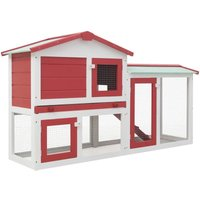 Outdoor Large Rabbit Hutch Red and White 145x45x85 cm Wood VD35623 - Hommoo