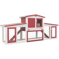 Outdoor Large Rabbit Hutch Red and White 204x45x85 cm Wood VD35626 - Hommoo