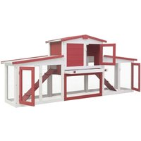 Outdoor Large Rabbit Hutch Red and White 204x45x85 cm Wood QAH35626 - Hommoo