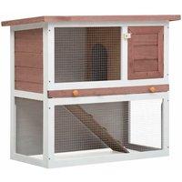 Outdoor Rabbit Hutch 1 Door Brown Wood VD35613 - Hommoo