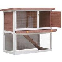 Outdoor Rabbit Hutch 1 Door Brown Wood QAH35613 - Hommoo