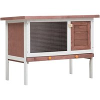 Outdoor Rabbit Hutch 1 Layer Brown Wood VD35610 - Hommoo
