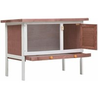Outdoor Rabbit Hutch 1 Layer Brown Wood QAH35610 - Hommoo