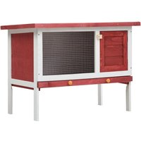 Outdoor Rabbit Hutch 1 Layer Red Wood VD35611 - Hommoo