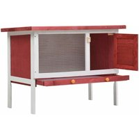 Outdoor Rabbit Hutch 1 Layer Red Wood QAH35611 - Hommoo