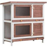 Hommoo Outdoor Rabbit Hutch 4 Doors Brown Wood VD35616